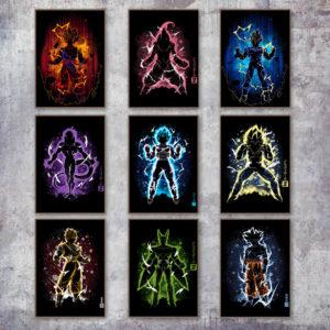 Dragon Ball Super Saiyans Minimal Style Pop Art Canvas Posters