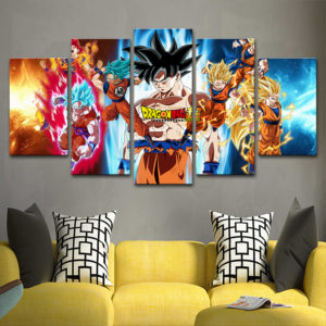 Dragon Ball Son Goku the Great Saiyan Warrior Modular Wall Art 5 Piece Prints
