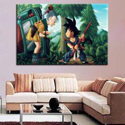 Dragon Ball Girl & Goku Canvas Wall Poster