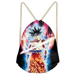 Super Saiyan Goku Purple and Blue Aura Drawstring Bag