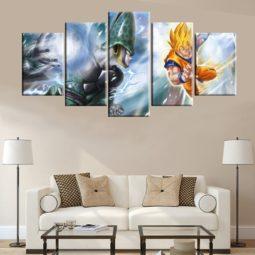 Dragon Ball Super Goku VS Cell The Perfect Fighter Modular Wall Art 5 Piece HD Prints