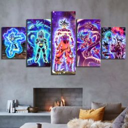 The Legendary Saiyan Wairrors Abstract Modular Wall Art 5 Piece HD Canvas Prints