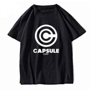 Black DBZ Capsule Corp 100% Cotton O-Neck Summer Tee