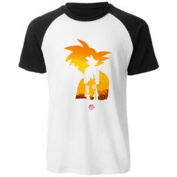 Dragon Ball Z Goku Sunset Silhouette 100% Cotton Casual Raglan Tee