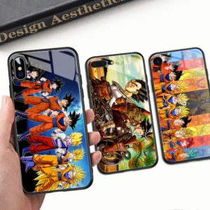Dragon Ball Z Super Saiyan Glass Back Cover Cases for iPhone 6 6S 7 8 plus X XR XS MAX 11 Pro Max