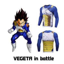 Dragon Ball Vegeta 3D Printed Long Sleeve Compression Cosplay Tee