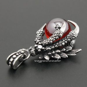 Dragon Claw & Dragon Ball 316L Stainless Steel Biker Punk Pendant 4S021 Steel Necklace 24 Inch