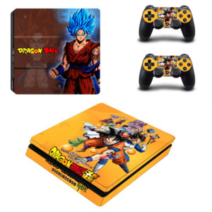 Blue Hair Son Goku DBZ Vinyl Skins for SONY PS4 SLIM Game Console & 2 Controllers