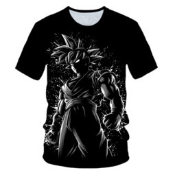 Son Goku The Legendary Saiyan Hero Black and White Illustration Summer Tee